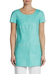 Lafayette 148 New York Snap Front Leather Tunic Freshwater