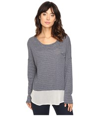 The Beginning Of Hadassah Contrast Tee Heather Grey Indigo Women's T Shirt Gray