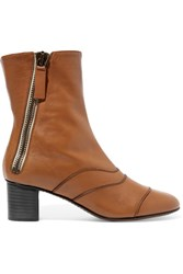 Chloe Paneled Leather Ankle Boots Tan