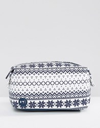 Mi Pac Premium Make Up Bag In Fairisle Navy White Multi
