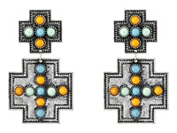 Gypsy Soule Square Cross W Stones Earrings Silver Multicolor Earring