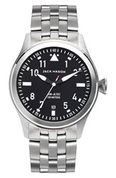 Men's Jack Mason Brand 'Aviation' Bracelet Watch 42Mm Black Silver