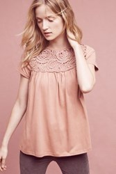 Anthropologie Macrame Tee Peach