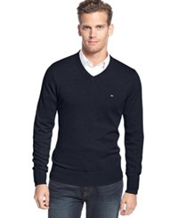 Tommy Hilfiger Big And Tall Signature Solid V Neck Sweater Masters Navy