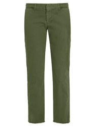 Nili Lotan East Hampton Mid Rise Cotton Blend Chino Trousers Khaki