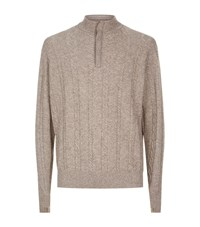 Peter Millar Half Zip Cable Knit Wool Jumper Male Beige