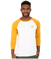 Nike Sb Dri Fit 3 4 Sleeve Henley Top Gold Leaf White Gold Leaf Men's Long Sleeve Pullover Yellow