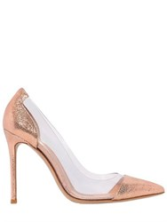Gianvito Rossi 100Mm Plexi And Crackled Leather Pumps