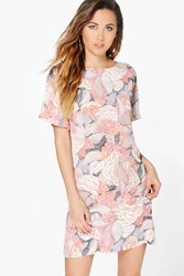 Boohoo Floral Cap Sleeve Shift Dress Grey