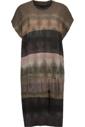 Raquel Allegra Shredded Tie Dyed Merino Wool And Cashmere Blend Tunic Green
