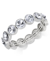 Charter Club Bezel Set Crystal Stretch Bracelet Only At Macy's Clear Silver