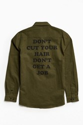 Lazy Oaf Cut Your Hair Button Down Shirt Olive