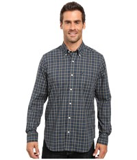 Nautica Long Sleeve Wrinkle Resistant Medium Plaid Shirt Marine Blue Men's Long Sleeve Button Up