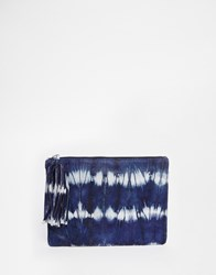 Becksondergaard Becksondergaard Leather Zip Top Clutch Bag In Tie Dye Blue