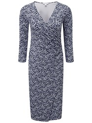 Pure Collection Carissa Heavy Jersey Wrap Dress Navy Animal Print