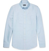 Tom Ford Slim Fit Button Down Collar Washed Cotton Oxford Shirt Blue