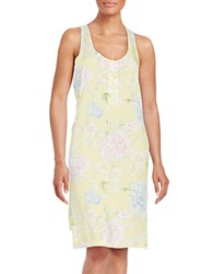 Lord And Taylor Print Chemise Yellow Floral