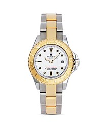 Pre Owned Rolex Stainless Steel And 18K Yellow Gold Two Tone Yacht Master Watch With White Dial 29Mm White Gold