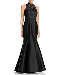 Aqua Metallic Lace Bodice Gown Black