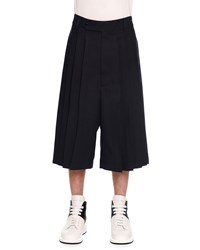 Alexander Mcqueen Pleated Wide Leg Cropped Trouser Navy
