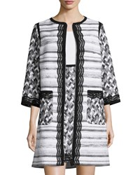 Andrew Gn Striped Tweed Zip Front Topper Coat Black White