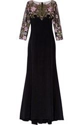 Marchesa Notte Embroidered Tulle Paneled Silk Satin Gown Black