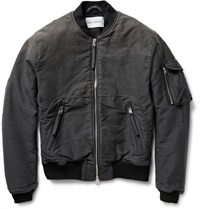 Our Legacy Brushed Cotton Canvas Bomber Jacket Gray