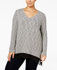 Styleandco. Style Co. Plus Size Jacquared Layered Look Top Only At Macy's Deep Black