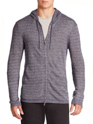 John Varvatos Striped Long Sleeve Zip Front Hoodie Sweater Twilight