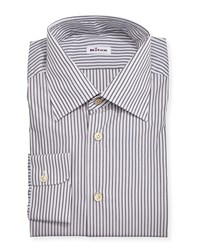 Kiton Striped Woven Dress Shirt Gray Olive Men's Size 16