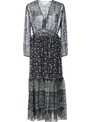 Veronica Beard Floral Print Dress Blue