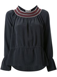 Vanessa Bruno Embroidered Neck Blouse Black