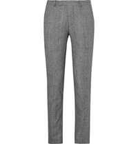 Sandro Slim Fit Prince Of Wales Checked Wool And Cotton Blend Suit Trousers Black