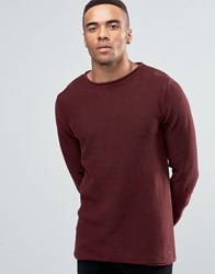 Solid Ribbed Knitted Jumper Burgundy Red