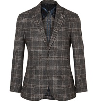 Hackett Mayfair Slim Fit Checked Boucle Blazer Gray
