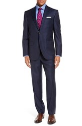 David Donahue Men's Big And Tall 'Ryan' Classic Fit Pinstripe Wool Suit Navy