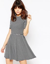 Asos Rib Skater Dress In Stripe Grey