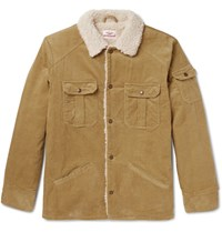 Battenwear Lim Fit Faux Hearling Trimmed Cotton Corduroy Jacket Camel