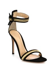 Gianvito Rossi Marshal Metallic Trim Suede Ankle Strap Sandals Black Gold