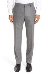 Boss Men's 'Genesis' Flat Front Solid Stretch Wool And Cashmere Trousers Medium Grey