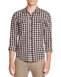 Paige Hunter Plaid Flannel Regular Fit Button Down Shirt Black White Warm Clay