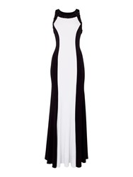 Js Collections Halter Neck Beaded Gown Black White