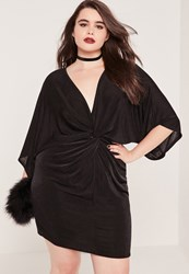 Missguided Plus Size Slinky Kimono Mini Dress Black