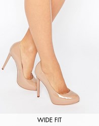 Faith Wide Fit Cadles Nude Platform Court Shoes Nude Patent Beige