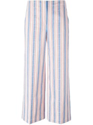 Tory Burch Wide Leg Striped Trousers Blue