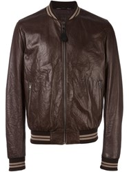 Dolce And Gabbana Creased Bomber Jacket Brown