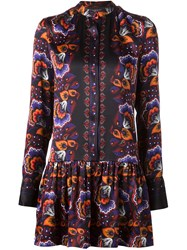 Thakoon Floral Print Peplum Shirt Dress Black