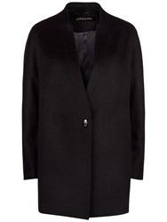 Jaeger Wool Turn Back Lapel Cocoon Coat Black