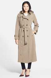 London Fog Long Trench Coat With Removable Hood Online Only Vintage Khaki