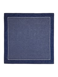 T.M.Lewin Patterned Handkerchief Navy And White